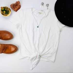 Madewell Tied Front Short Sleeve White Tee